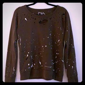 Chaser S olive distressed sweatshirt
